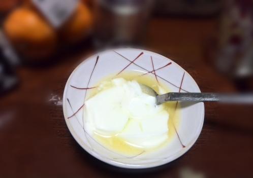 ホットヨーグルトにオレンジジュース