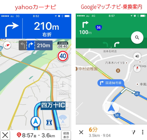 YahooナビとGoogleナビの比較