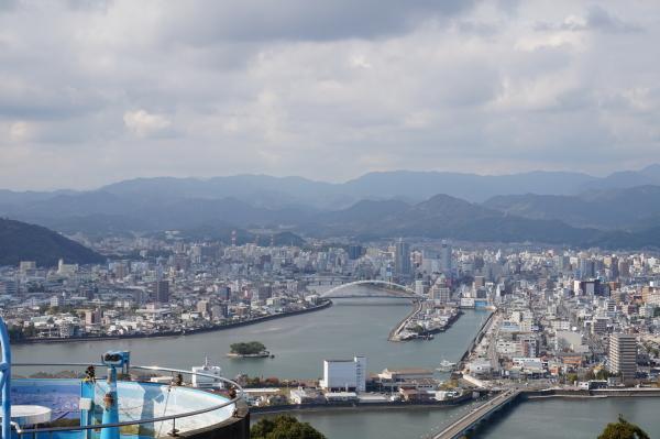 五台山から見た高知市。